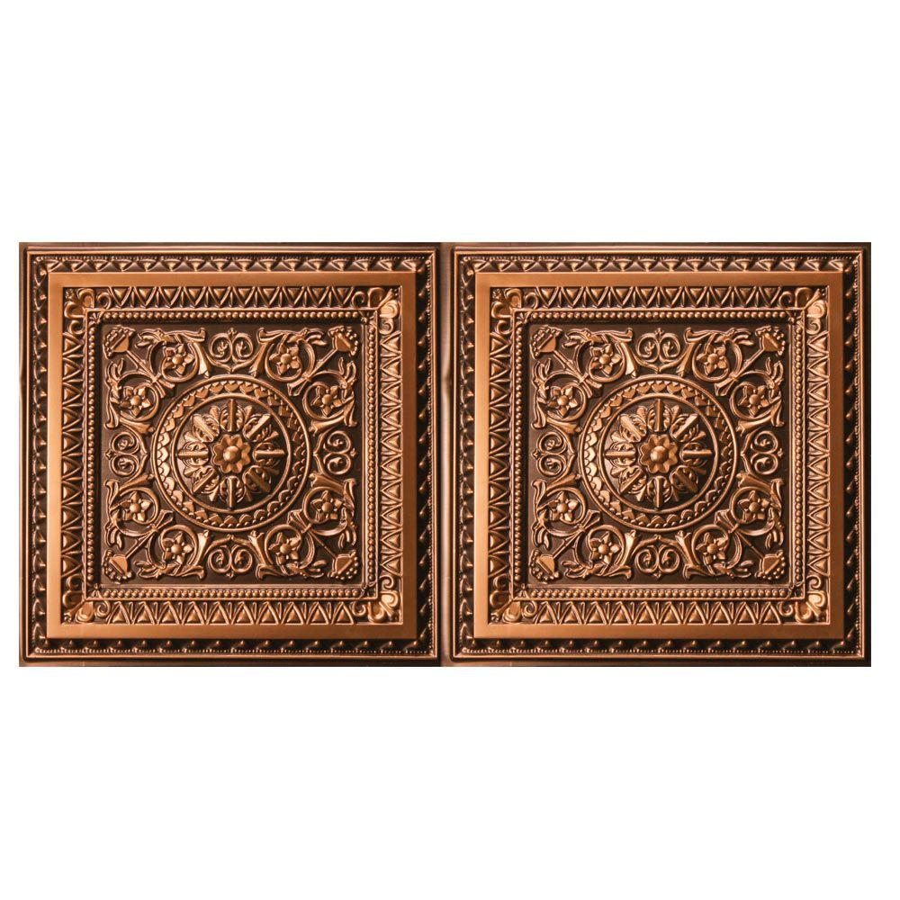uDecor Marseille 2 ft. x 4 ft. Lay-in or Glue-up Ceiling Tile in Antique Gold (80 sq. ft. / case ...