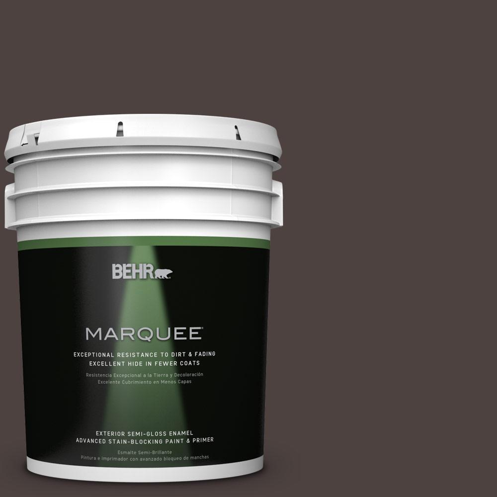 BEHR MARQUEE 5-gal. #QE-24 Manchester Brown Semi-Gloss Enamel Exterior Paint