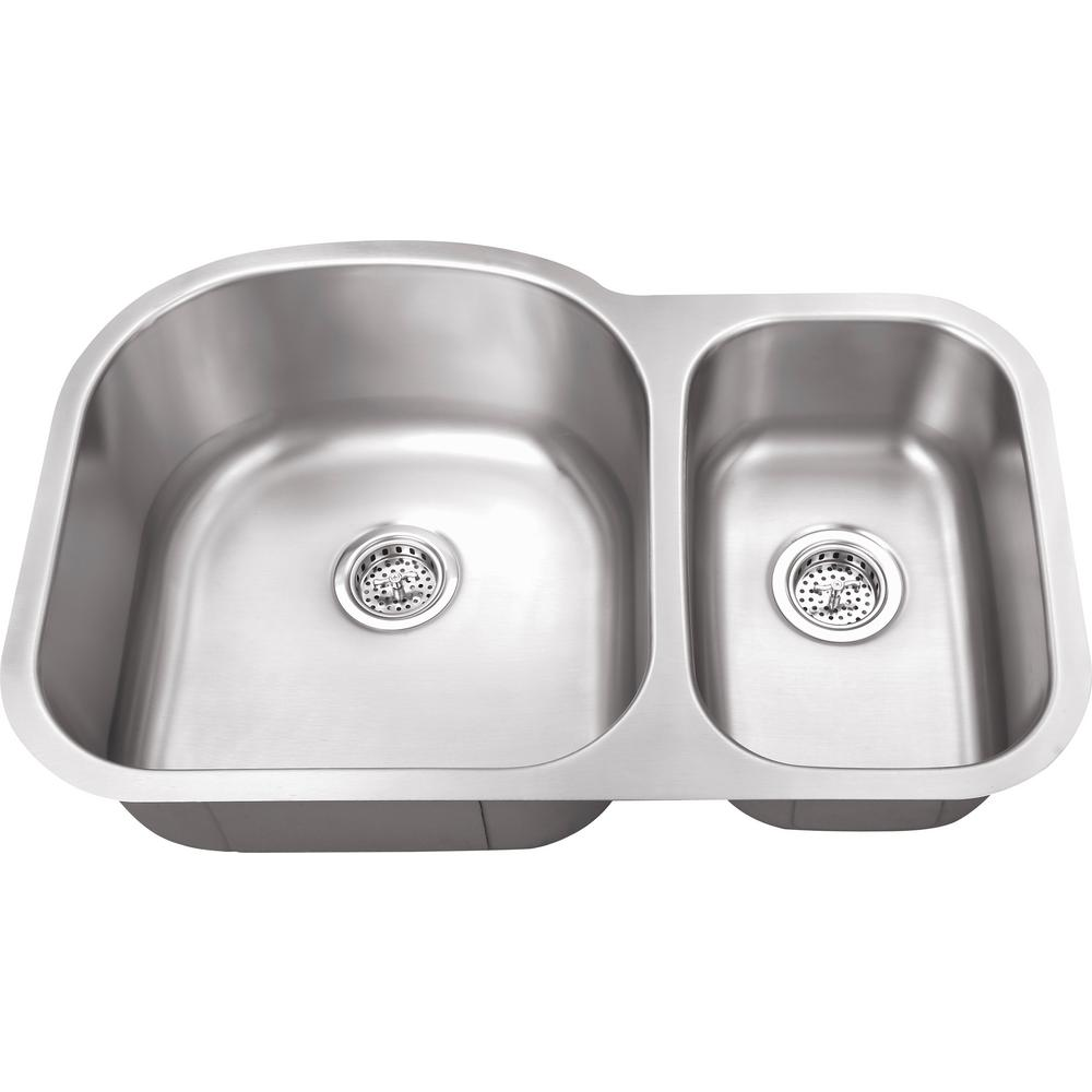 IPT Sink Company Undermount 32 in. 16-Gauge Stainless Steel Kitchen Sink in Brushed Stainless, Brushed Stainless Steel was $186.25 now $129.0 (31.0% off)