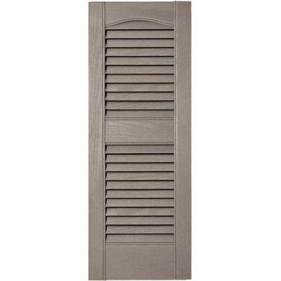 12 in. x 31 in. Louvered Vinyl Exterior Shutters Pair in #008 Clay