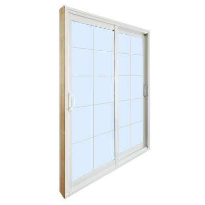 72 in. x 80 in. Double Sliding Patio Door with 10-Lite Internal White Flat Grill