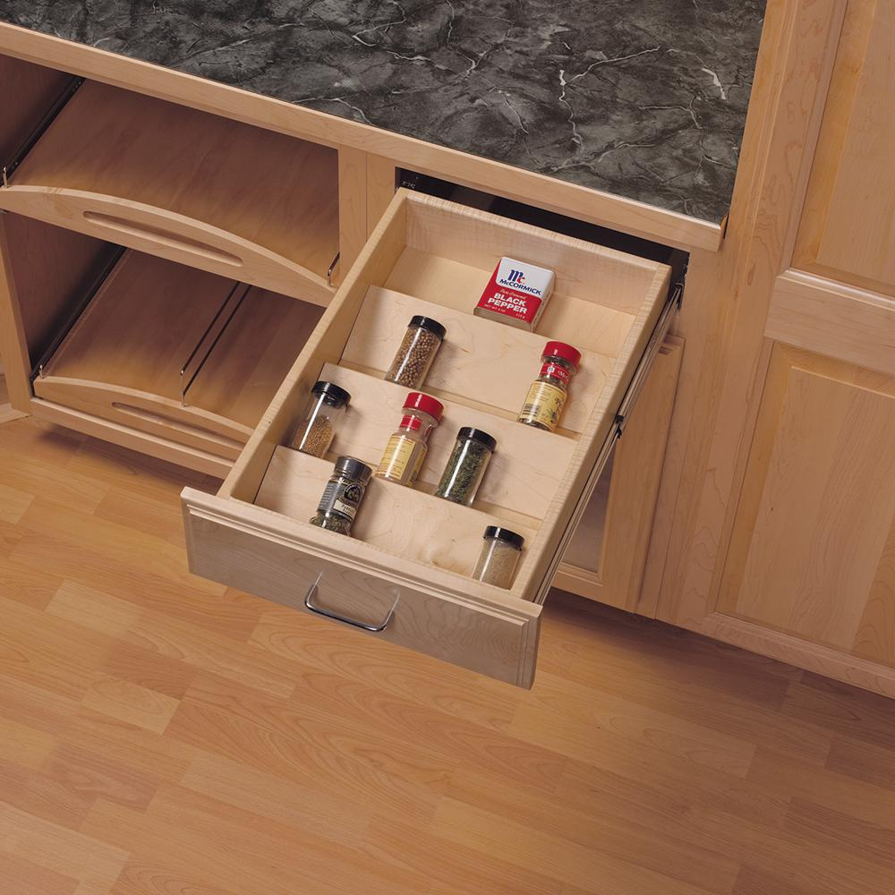 Knape & Vogt 1.81 in. x 10.125 in. x 19.5 in. Wood Spice Drawer Organizer