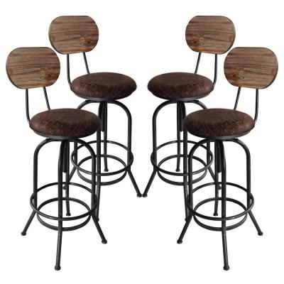 Adele Adjustable Brown Barstool (Set of 4)