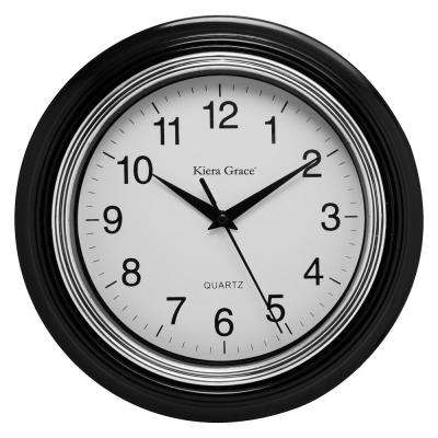 6-Pack Aster Round Wall Clock, 10 in., 1.5 in. D - Black