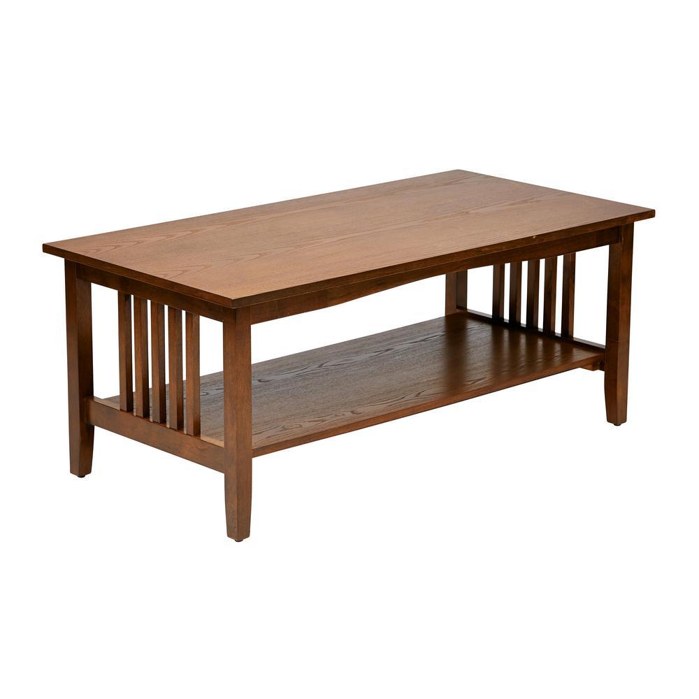 Sierra 41 in. Oak Wood Large Rectangle Wood Coffee Table with Shelf