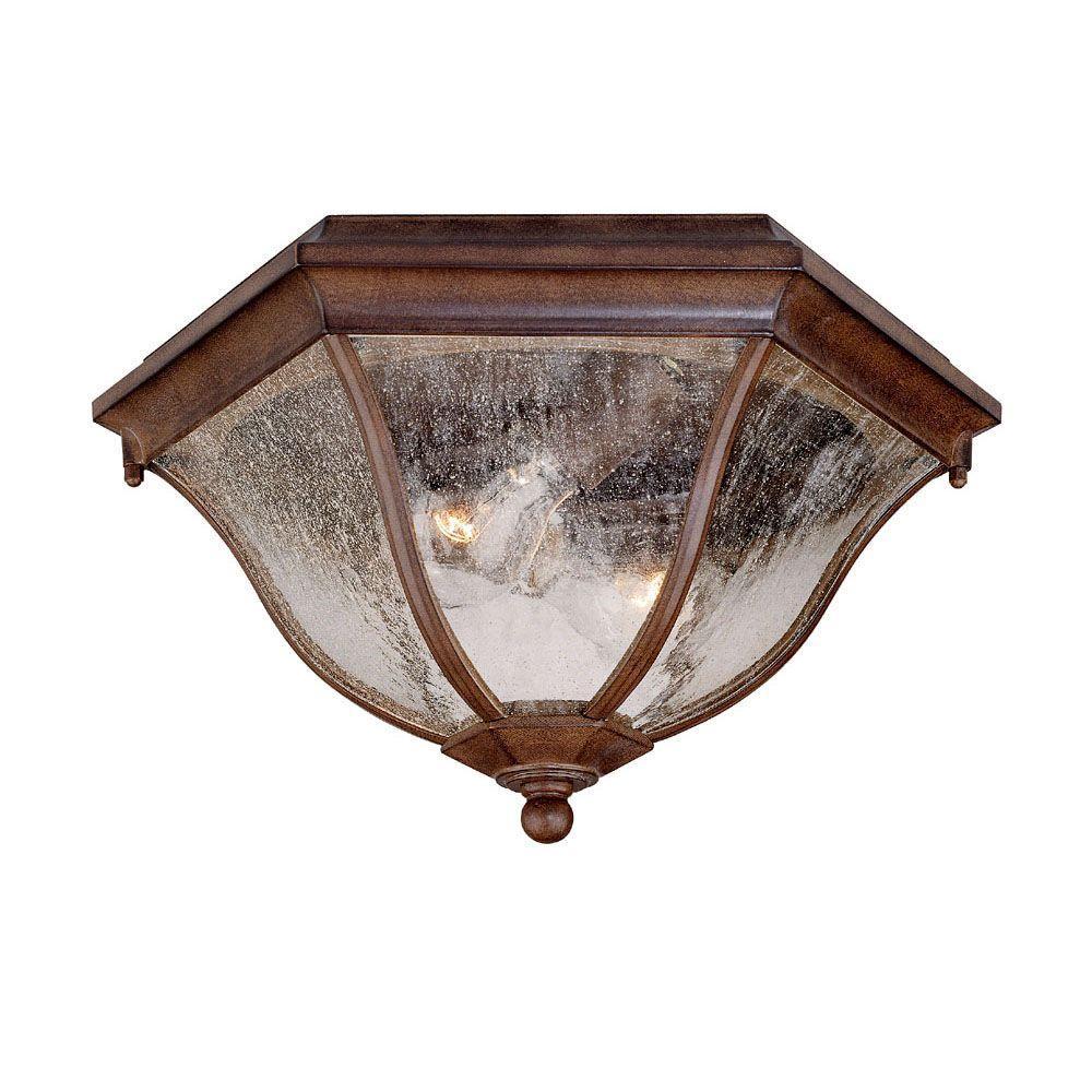 Flushmount Collection Ceiling-Mount 2-Light Burled Walnut Outdoor Light Fixture