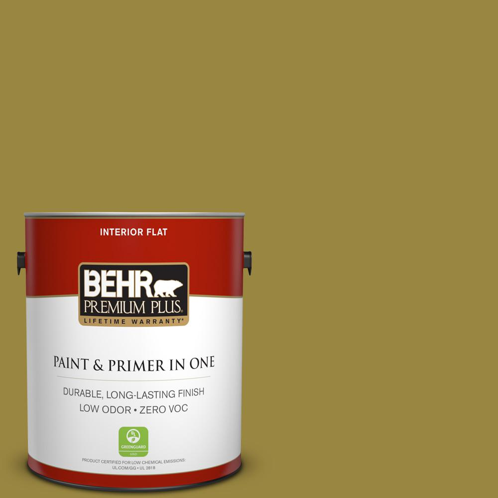 BEHR Premium Plus 1-gal. #380D-7 Wild Grass Zero VOC Flat Interior Paint