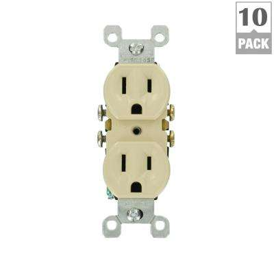 15 Amp Residential Grade Grounding Duplex Outlet, Ivory (10-Pack)