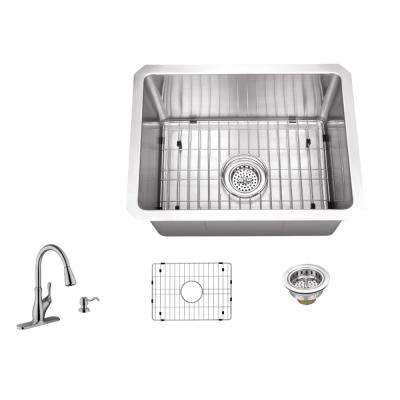 Undermount Stainless Steel 15 in. 16-Gauge Bar Sink in Brushed Stainless with Gooseneck Faucet