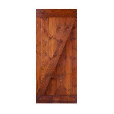 36 in. x 84 in. Z Series DIY Red  Walnut Finished Knotty Pine Wood Interior Barn Door