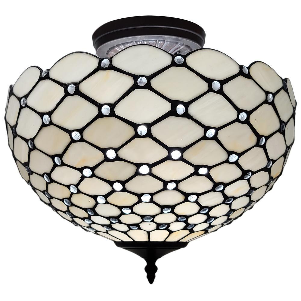 2-Light Tiffany Style Jeweled Pendant with Glass Shade