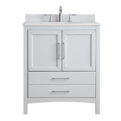 Joyce 30 in. W x 22 in. D in Dove Grey with Marble Vanity Top in White with White Basin