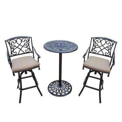 Grace 3-Piece Metal Round Outdoor Bar Height Dining Set with Beige Cushions