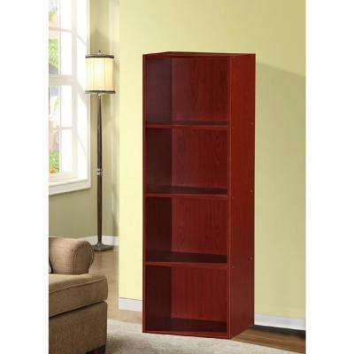 4-Shelf, 47 in. H Mahogany Bookcase