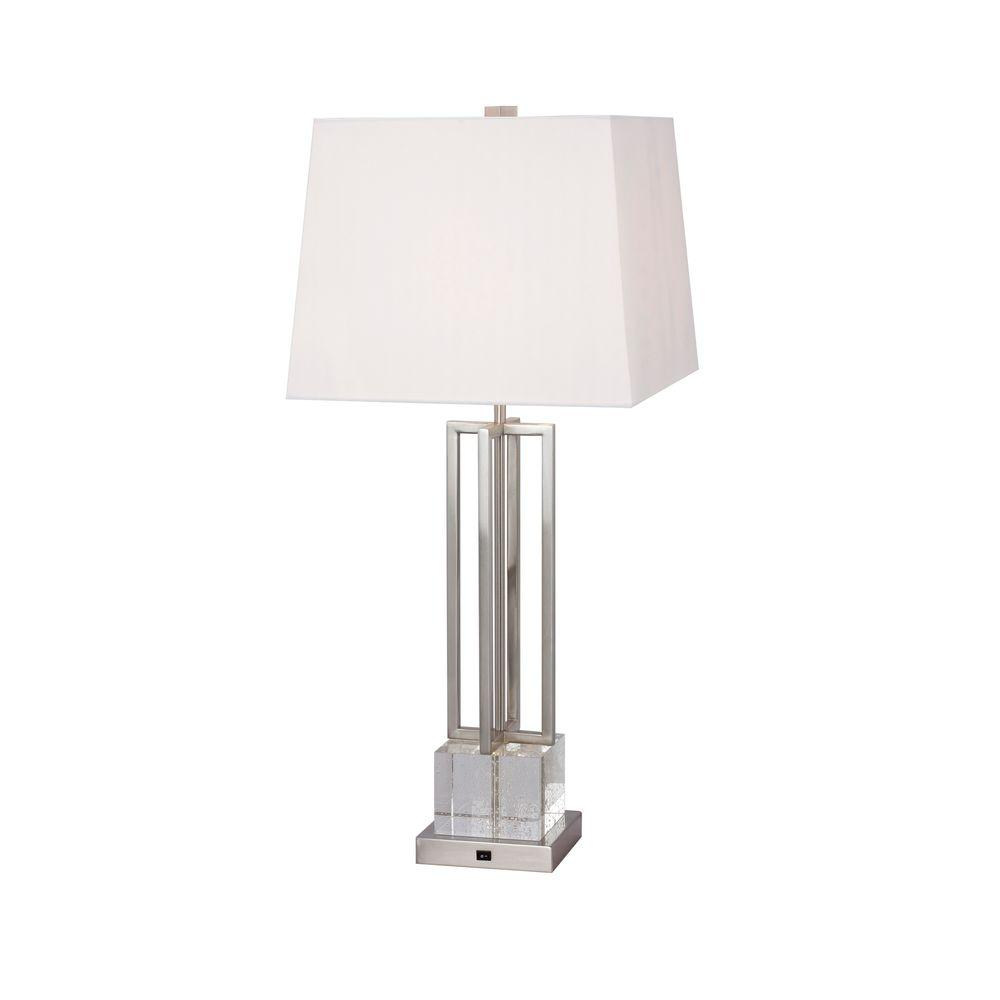 30 in. Crystal and Brushed Steel Metal Table Lamp with LED