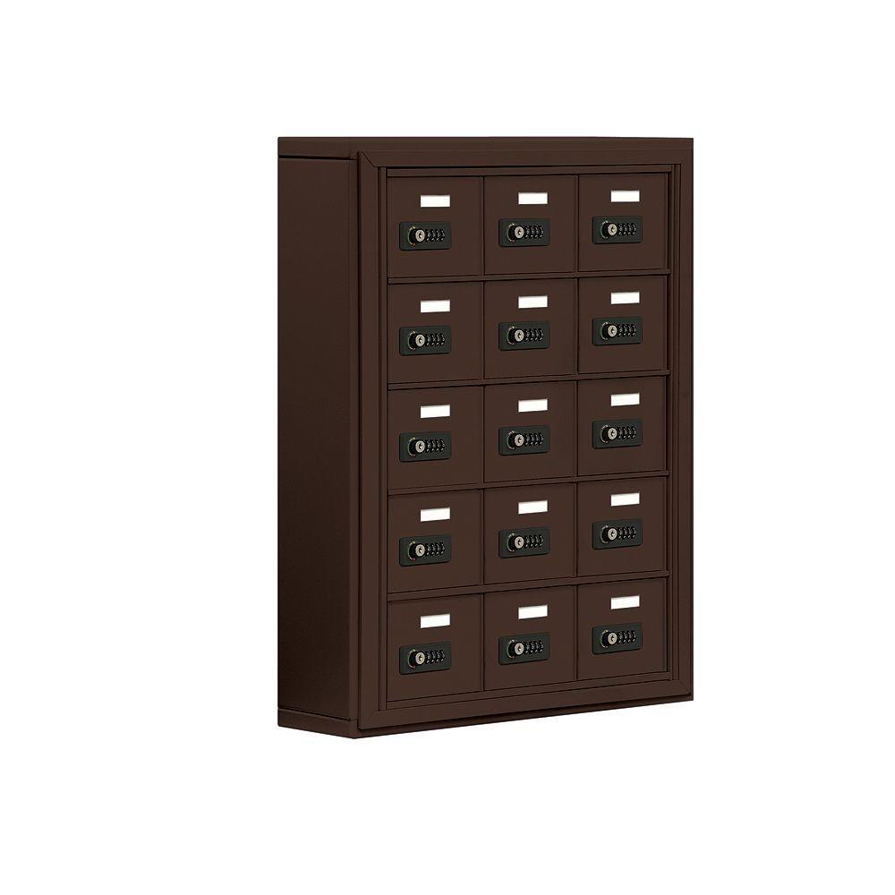 19000 Series 24 in. W x 31 in. H x6.25 in. D 15 A Doors S-Mount Resettable Locks Cell Phone Locker in Bronze