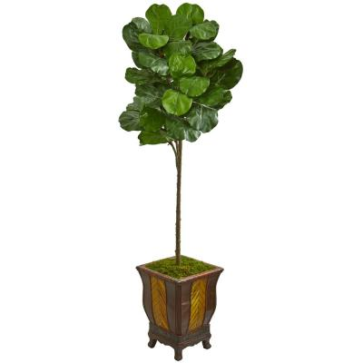 Indoor 6-Ft. Fiddle Leaf Artificial Tree in Decorative Planter