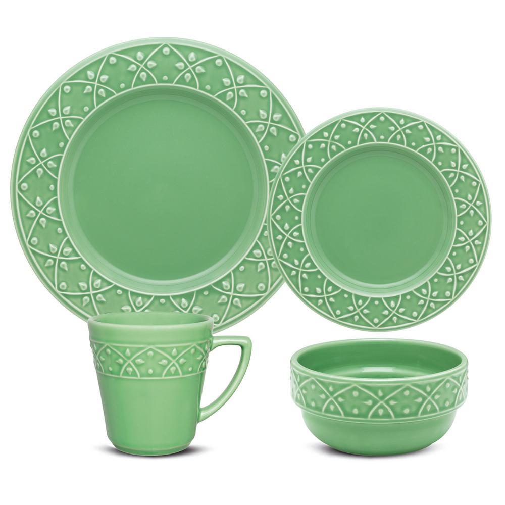 Mendi Green 16-Piece Casual Green Earthenware Dinnerware Set (Service for 4)