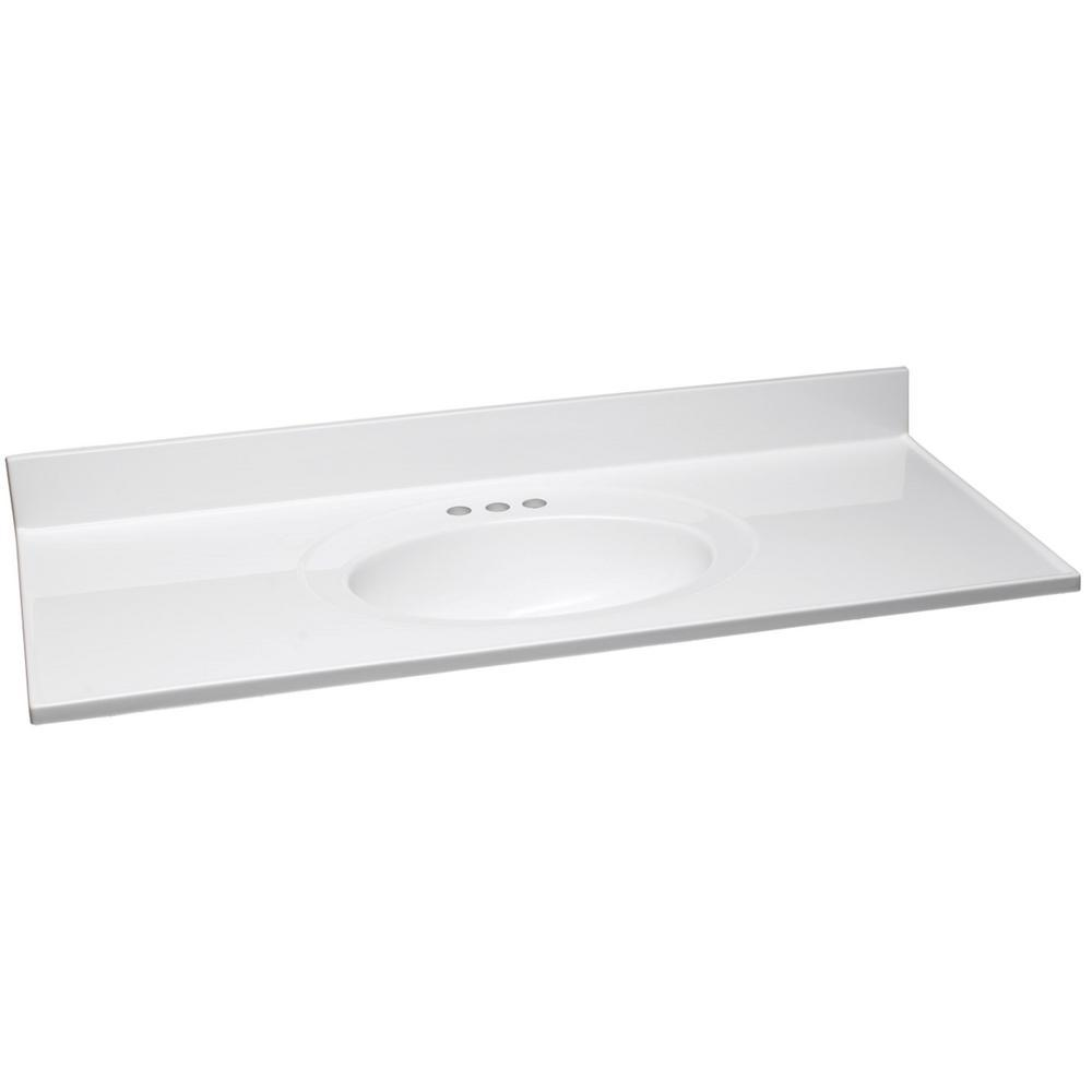 Design House 49 in. W Cultured Marble Vanity Top in White with Solid White Bowl