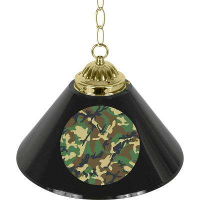 Hunt Camo 14 in. Single Shade Black and Brass Hanging Lamp