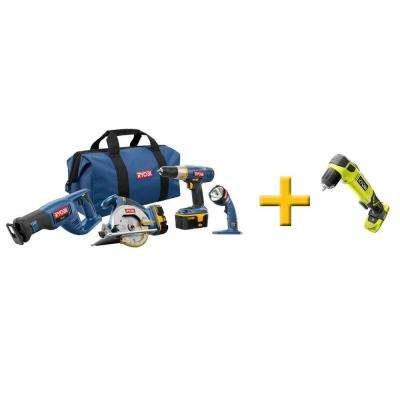 18-Volt ONE+ 4-Pieces Super Combo Kit with Free ONE+ Right Angle Drill