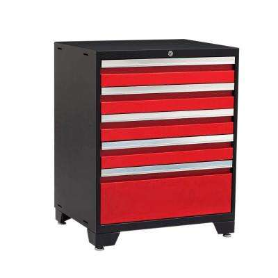 Pro 3 Series 37 in. H x 28 in. W x 22 in. D 18-Gauge Welded Steel 5-Drawer Tool Cabinet in Red