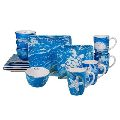 Fluidity 16-Piece Seasonal Multicolored Earthenware Dinnerware Set (Service for 4)