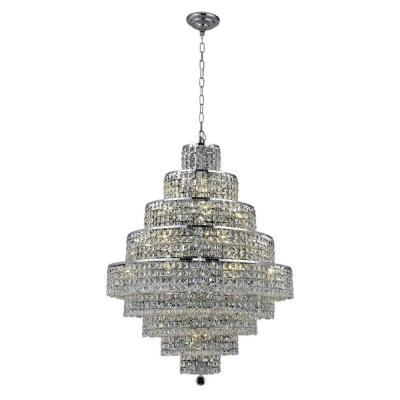 20-Light Chrome Chandelier with Clear Crystal