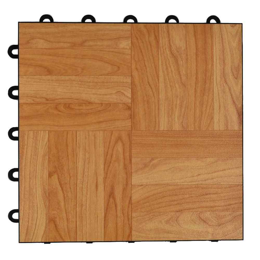 Max Tile 12 in. x 12 in. x 5/8 in. Light Oak Vinyl Interlocking Raised Modular Floor Tile (Case of 26)