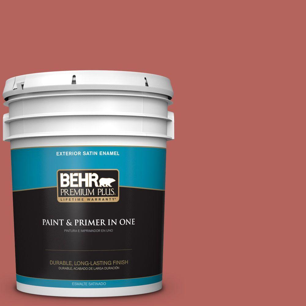 BEHR Premium Plus 5-gal. #180D-6 Mineral Red Satin Enamel Exterior Paint