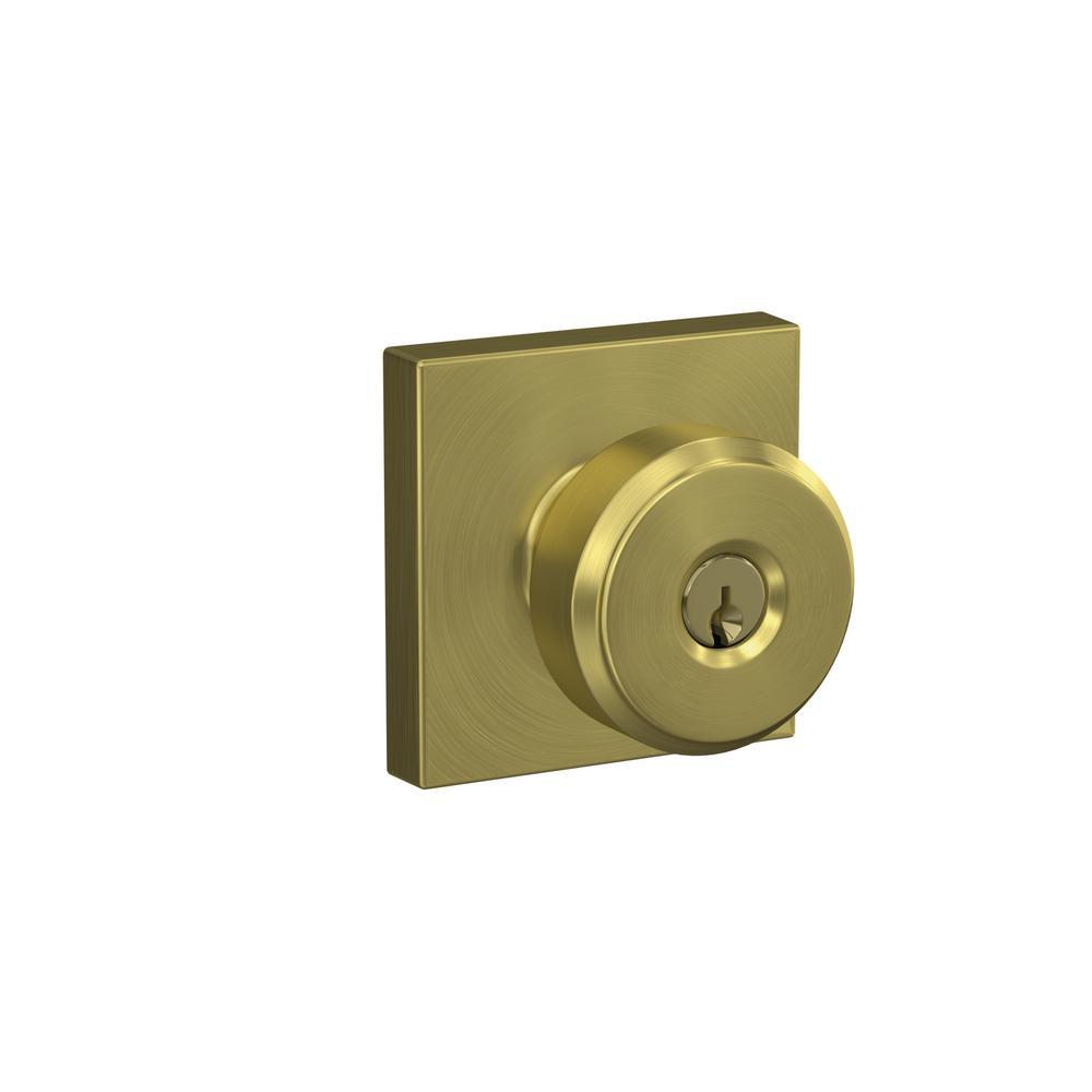 Schlage Custom Bowery Satin Brass Collins Trim Keyed Door Knob F51a Bwe 608 Col The Home Depot