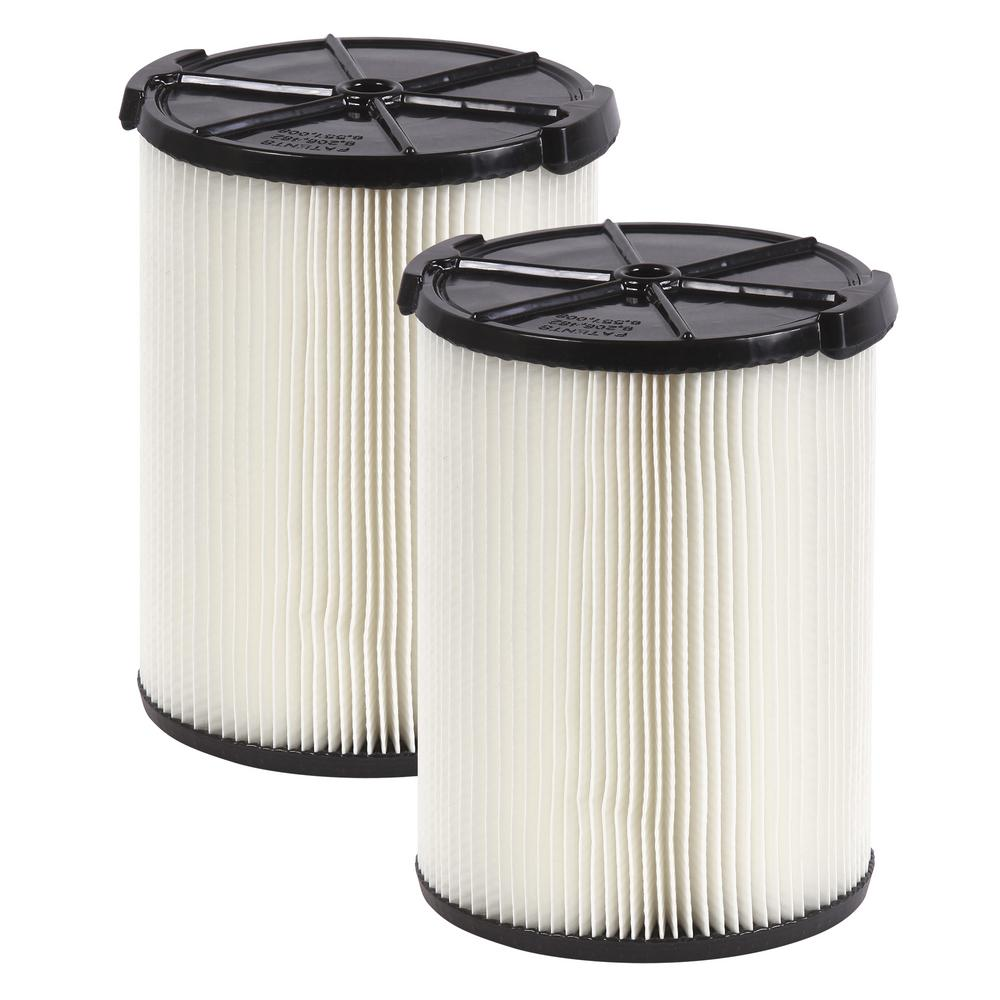 RIDGID 1-layer Everyday Dirt Pleated Paper Filter for 5.0 Plus Gal. RIDGID Wet Dry Vacs (2-Pack)