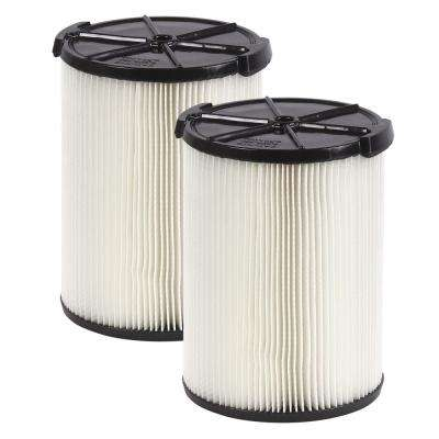 1-layer Everyday Dirt Pleated Paper Filter for 5.0 Plus Gal. RIDGID Wet Dry Vacs (2-Pack)