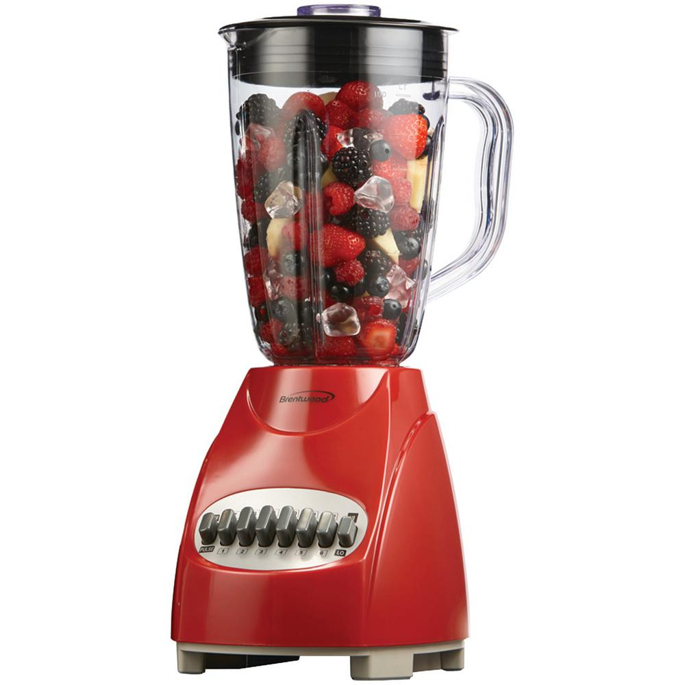 BRENTWOOD APPLIANCES 12-Speed Red Blender with Plastic Jar When you need help with kitchen tasks from pureeing to mixing, this 12-Speed Countertop Blender with Glass Jar is here for you. The strong motor allows you to rip through everything from fruits and vegetables to ice. With its variable speed options, you can adjust to whatever task you're trying to accomplish.