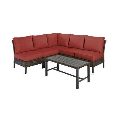Harper Creek Brown 6-Piece Steel Outdoor Patio Sectional Sofa Seating Set with Sunbrella Henna Red Cushions