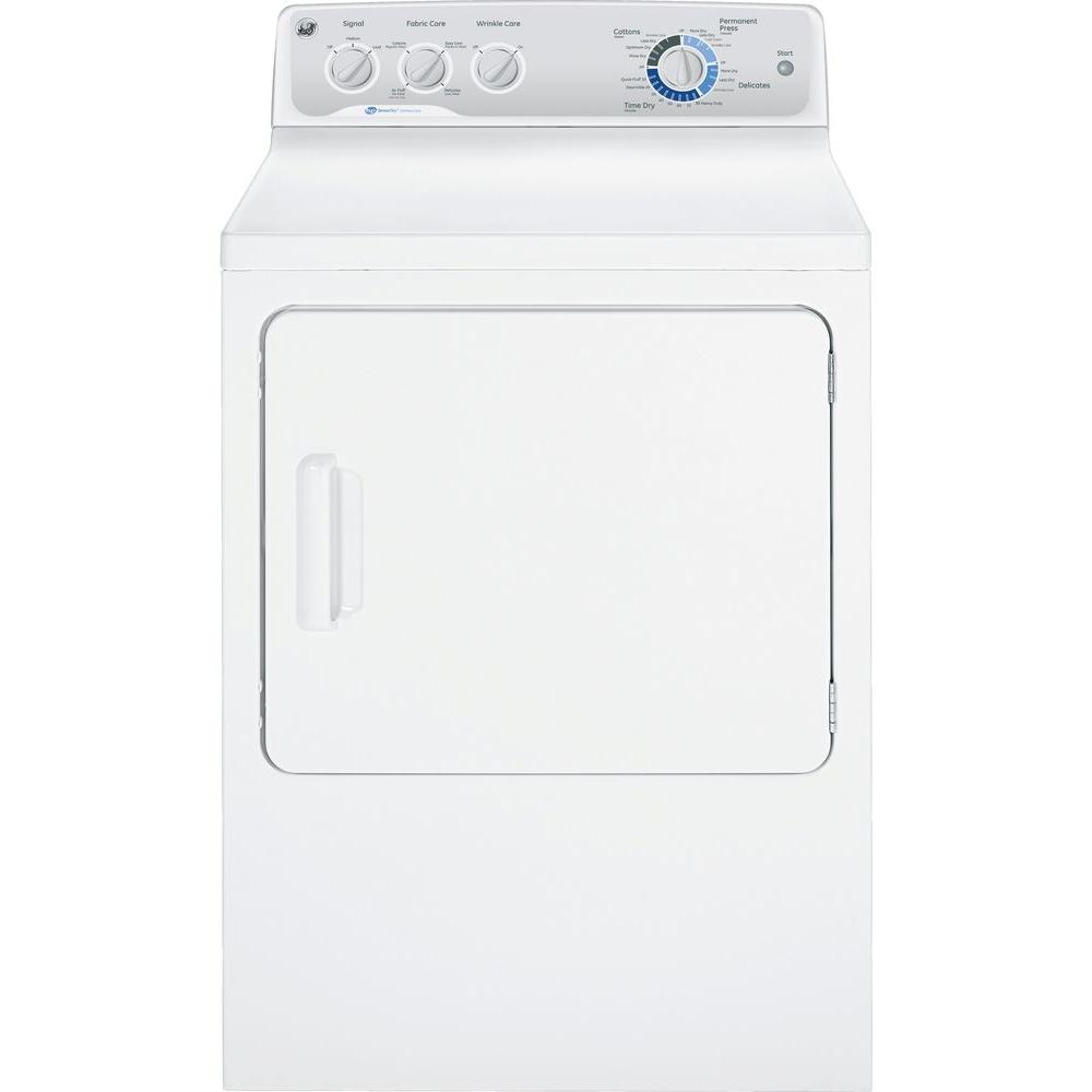 GE 7.0 cu. ft. Capacity DuraDrum Electric Dryer with HE SensorDry in White