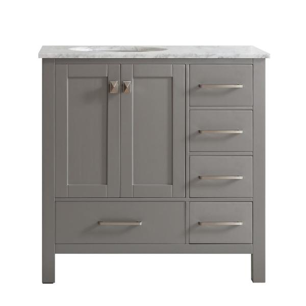 Gela 36 in. W x 22 in. D x 35 in. H Vanity in Grey with Marble Vanity Top in White with Basin