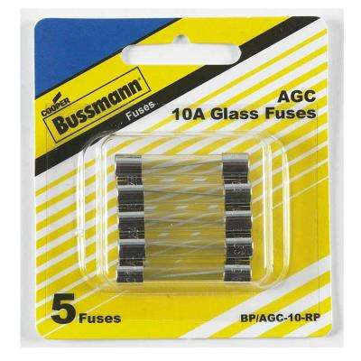 AGC Series 10 Amp Silver Fast-Act Electronic Fuses (5-Pack)