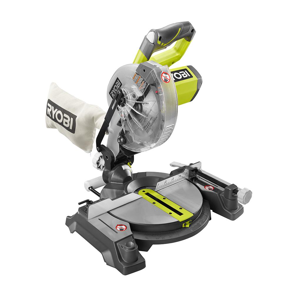 Ryobi 18 volt one cordless 7 14 in miter saw tool only with ryobi 18 volt one cordless 7 14 in miter saw tool only with blade and blade wrench p552 the home depot greentooth Image collections