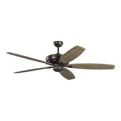 Dover 60 in. Indoor Aged Pewter Ceiling Fan with Light Grey Weathered Oak Blades and 6-Speed Remote Control