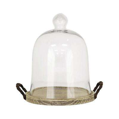 Campagne 14 in. Birch, Iron And Clear Glass Decorative Dome