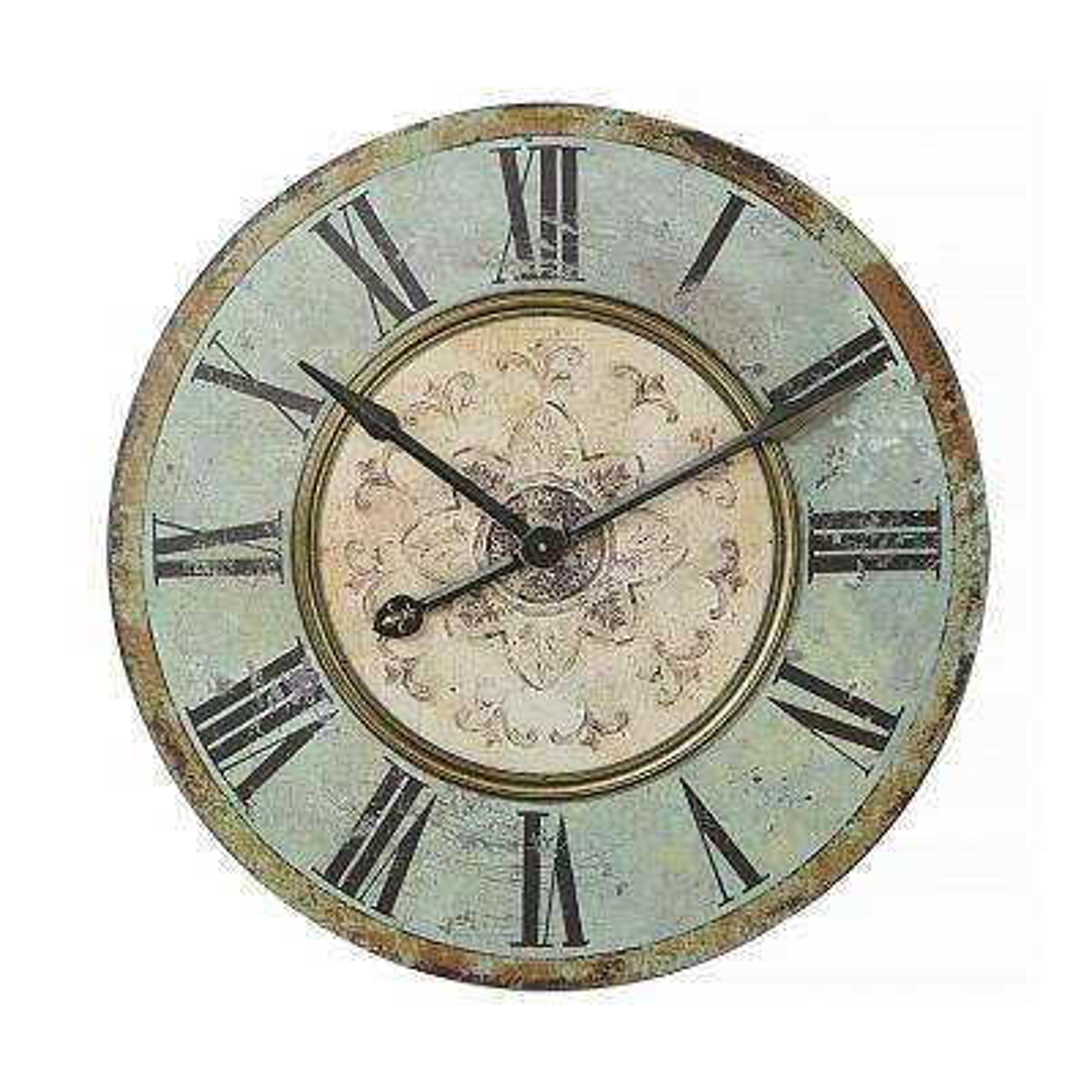 Distressed Mint Green Wood Wall Clock