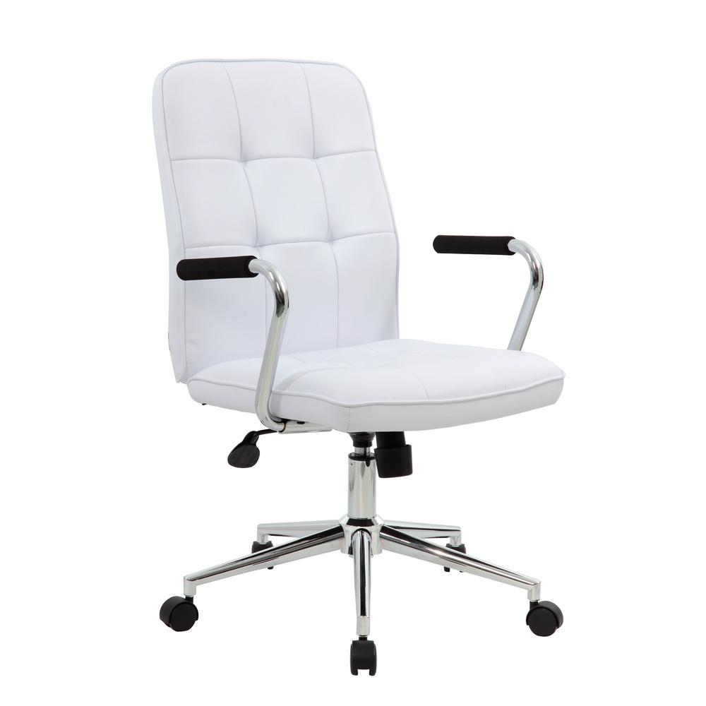 Boss modern white office chair with chrome arms