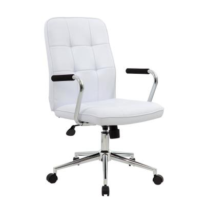 Modern White Office Chair with Chrome Arms