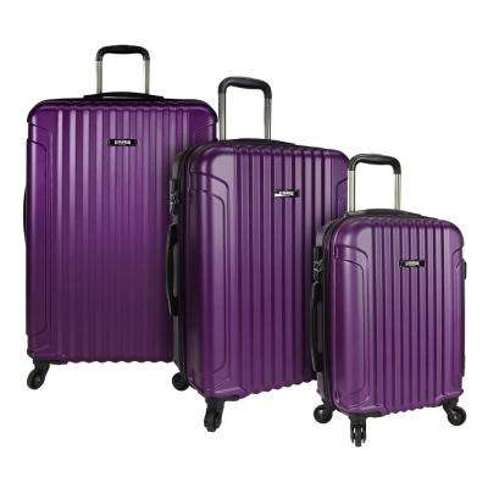 Akron 3-Piece Hardside Spinner Luggage Set, Purple