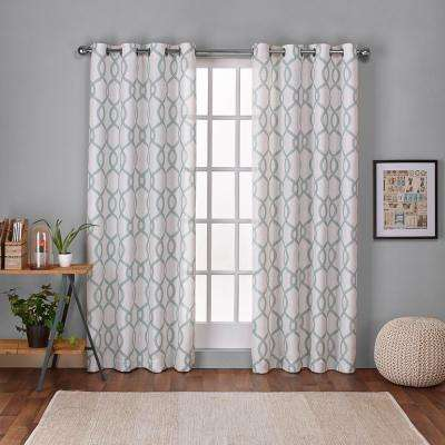 Kochi 54 in. W x 108 in. L Linen Blend Grommet Top Curtain Panel in Seafoam (2 Panels)