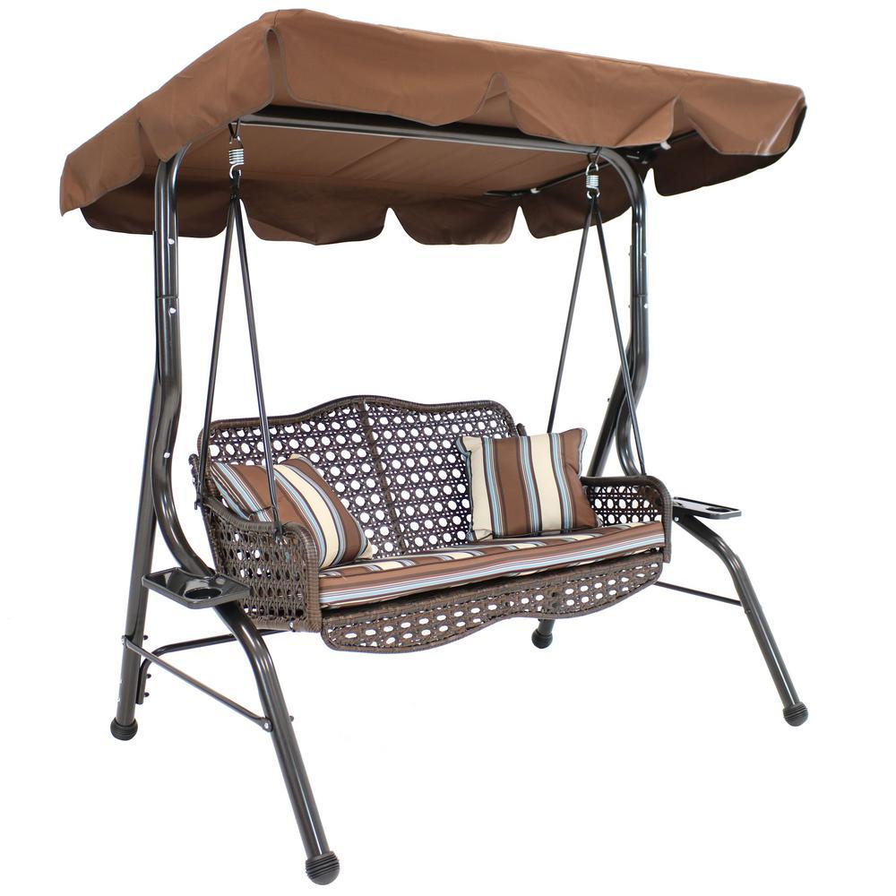 Sunnydaze Decor 2-Person Rattan Patio Outdoor Porch Swing with Adjustable Tilt Canopy