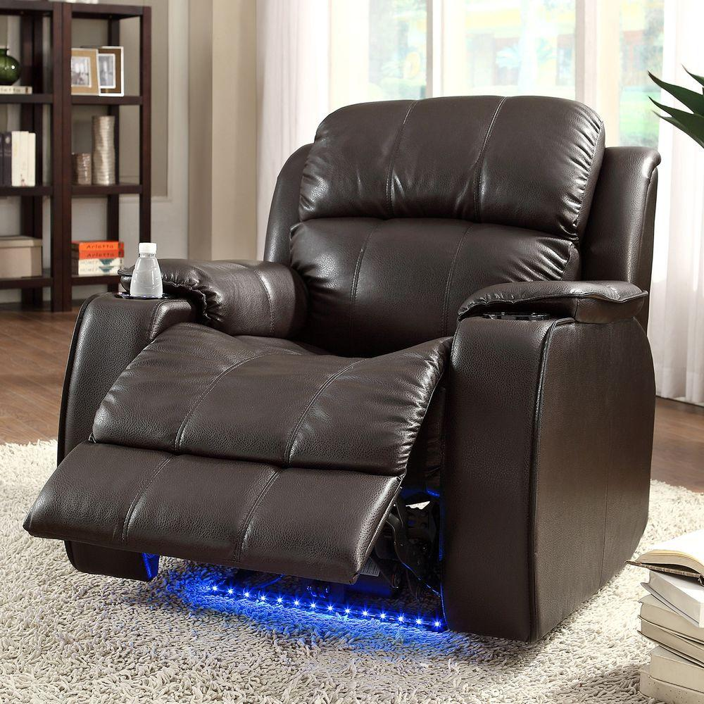 HomeSullivan Carlyle LED Bonded Leather Power Recliner in Brown with Cupholders