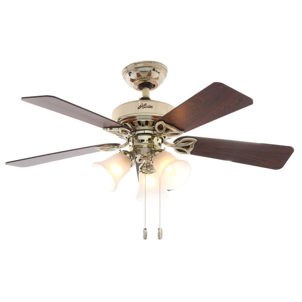 Hunter Beacon 42 in. Indoor Hill Bright Brass Ceiling Fan with Light