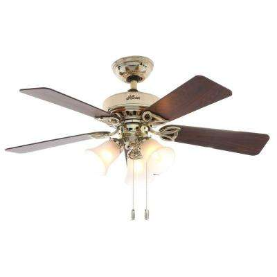 Beacon 42 in. Indoor Hill Bright Brass Ceiling Fan with Light